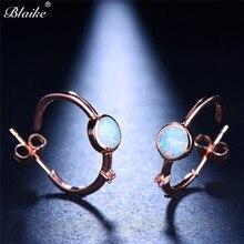 Blaike Korean Round White Fire Opal Hoop Earrings For Women Rose Gold Filled  Wedding Party Jewelry 09ec24899bd0