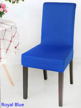 Royal blue Colour Spandex lycra chair cover fit for square back home chairs wedding party home dinner decoration Half cover(China)