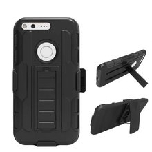 Hybrid Silicone hard PC Shockproof Armor Belt Clip Holster Case For Google Pixel XL 5.5'' / Pixel 5.0'' Phone Tough Kickstand