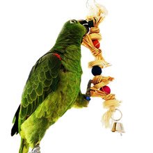 Pet Parrot Bird Toys African Grey Cockatoo Macaw Stand Chew Swing Toys Natural Straw Handmade Toy for Birds Accessories