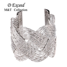 2016 Hot Sell Silver Jewelry 6CM Punk Wide Iron Wire Intertwined Charm Bracelet For Womem High Quality Femme Cuff Bangles Bijoux(China)