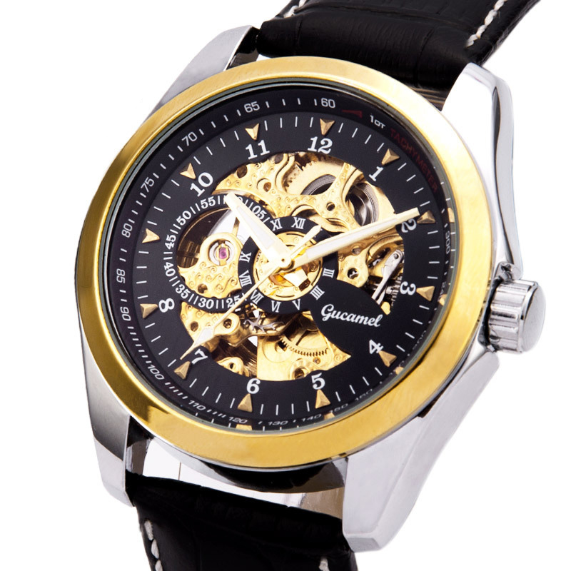 Automatic Mechanical Skeleton Wristwatch Golden Core Watch Men Top Brand Luxury Montre Homme Clock Genuine Leather Wrist Watches<br><br>Aliexpress