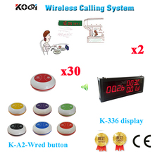 Wireless Sound System Best Price Of Display Panel With Colorful Good Design Restaurant Pager Equipment(2 display+30 button)(China)