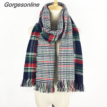 Gorgesonline Reversible Plaid Blanket Scarf Long Wrap Shawl Winter Acrylic Women Pashmina Scarf Free Shipping(China)