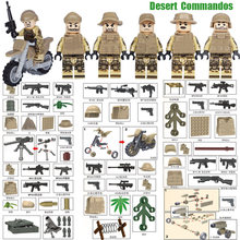 2017 New Desert Commandos Ranger Special Force Brigade Military Mini Toy Figure Weapon Building Blocks Army Toy D167