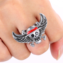 J Store ONE PIECE Series Angel Wings Rings for Women Anime One Piece Skeleton Zinc Alloy Ring 2017 Fashion Jewelry Accessories(China)
