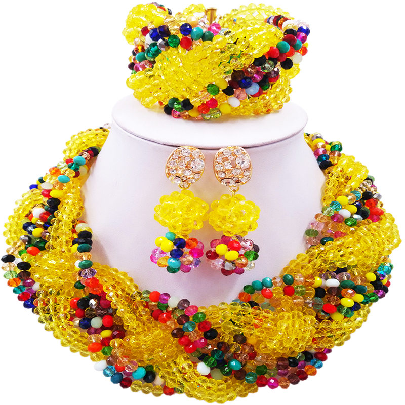ACZUV Yellow and Multicolor Beads African Jewelry Nigerian Wedding Necklace Bridal Party Jewelry Set 12C-008