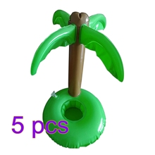 5Pcs Inflatable Bottle Holder Swimming Pool Accessories Beach Luau Palm Trees Cup Holder for Cola Cup/Cell Phone/(China)