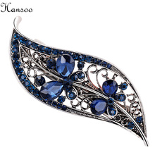 Hansoo Fashion 6-8cm women Blue Rhinestone Hair Clips Crystal Rhinestone Barrette Hairpins girls Clip Womens Hair Jewelry Gifts(China)