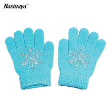 10 Colors Magic Wrist Gloves Figure Skating Ice Training Gloves Exquisite Warm Fleece Thermal Child Adult Snow Rhinestone