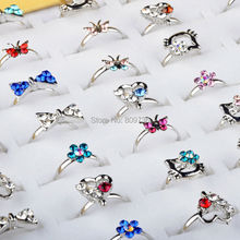 10pcs Heart Design Crystal Flower Butterfly Ring Wholesale Lot Silver Plated Assorted Cute Kid Child Ring Party Adjustable Gift