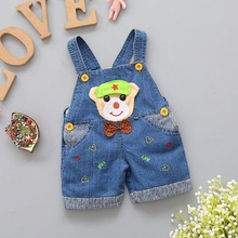 9M-2T Baby Overalls Toddler Boys Girls Jeans Overalls Summer Shorts Infant Kids Rompers Cap Dog Jumpsuit Children Clothes
