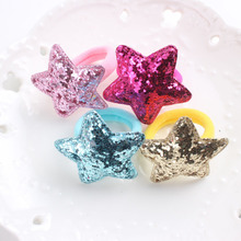 2017 new Glitter powder Star 5 colors beautiful rubber band kids 30mm+40mm The ponytail holder hair accessories for girl 1pcs