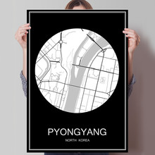 Black White City Map of PYONGYANG North Korea Print Poster Print on Paper or Canvas Wall Sticker Bar Cafe Living Room Home Decor
