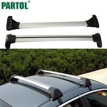 Partol Universal Car Roof Rack Cross Bars Crossbars 150LBS 68KG Aircraft Aluminum Cargo Luggage Snowboard Carrier fit 120-132cm(China)