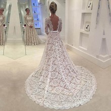 Buy Modest 2017 Ivory Lace Wedding Dress Open Back Long Sleeves Bridal Gown Court Train Vestidos De Noiva Wedding Gown for $208.33 in AliExpress store