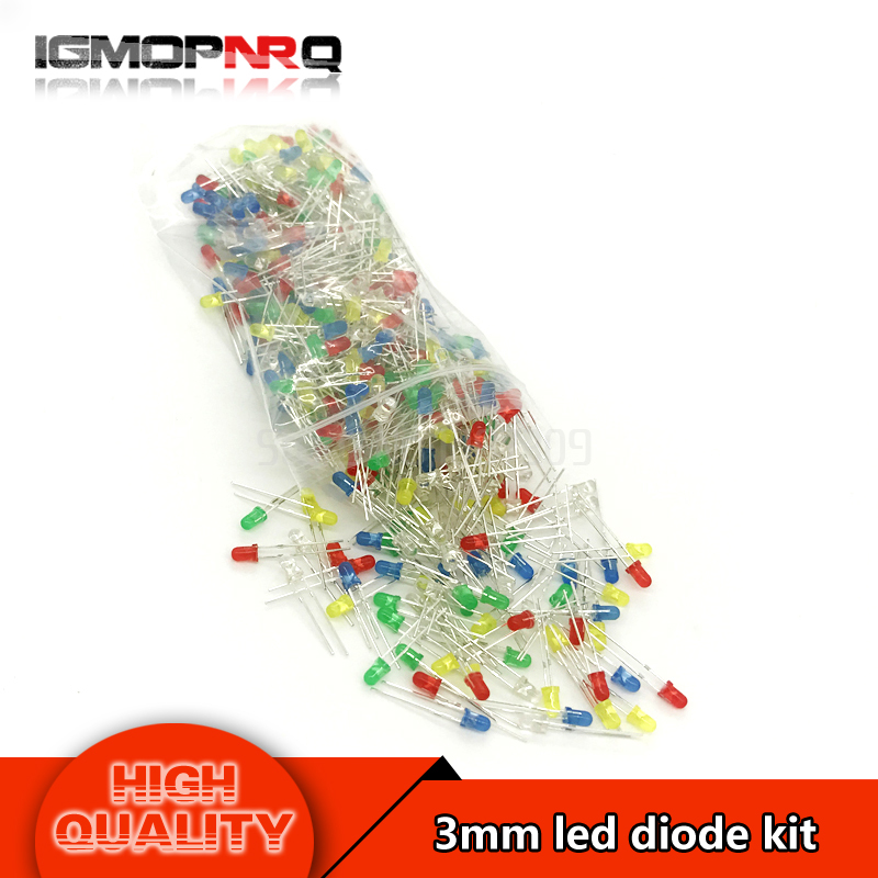 5colors*100pcs 500Pcs 3MM LED Diode Kit Mixed Color Red Green Yellow Blue White  light LED MIX(China)