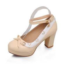 hot sale Free shipping spring and autumn Single shoes princess shoes round head thick with waterproof bowtie high heels