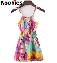2017 Summer Girls Sun Flower Sleeveless Dress Baby Girls Sun dress Summer Beach dress Kids clothing