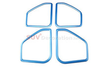 New! NEW!! For Porsche Macan 2014 2015 2016 Inner ABS Blue Car Speaker Audio Ring Cover Trim 4pcs(China)
