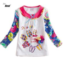 Girl clothes NEAT round neck cotton children clothes print letters color shoes pattern girls long sleeves T-shirt 2-6Y L330(China)