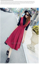 2016 women's summer holiday beach soft nice dresses red black clothing school girls style fashion slim dress size S M L #H740