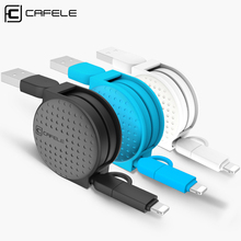 Cafele 1m 2 in 1 Dual Interface Retractable USB Cable For Android Micro for Apple Ios iPhone 5 6 7 plus 8 pin charging cable