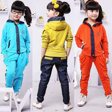 Hot 2017 Spring Fall Fashion Children Clothing Set Girls Denim Splicing Twinset Clothes Kids Tracksuit Hooded Sport Suit 2Pcs