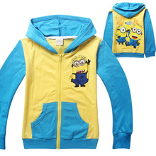 Kids boys boy Despicable Me Minions Spring Terry hoodie hoodies sweatshirt childrens jacket coat outerwear 4 pcs/lot