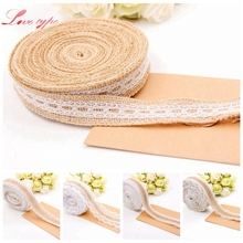 5M Natural Jute Burlap Rolls Hessian Lace Ribbon Roll White Lace Trim Edge Home Garden Rustic/Vintage Wedding Party Decoration(China)