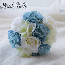 Outside Wedding Blue Brooch Bridesmaid Bouquets Artificial Wedding Flower Bouquets For Bridesmaids Fower Girl Bouquet De Mariage
