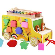 Multifunction Wooden Trailer Puzzle Toy Cartoon Animals Musical Trailer Wooden Puzzles Kids Early Educational Toys(China)