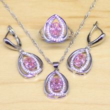 Mystic Pink Fire Created Topaz Princess Diana Sterling Silver Jewelry Sets Women Earrings/Pendant/Necklace/Ring Free Gift Box