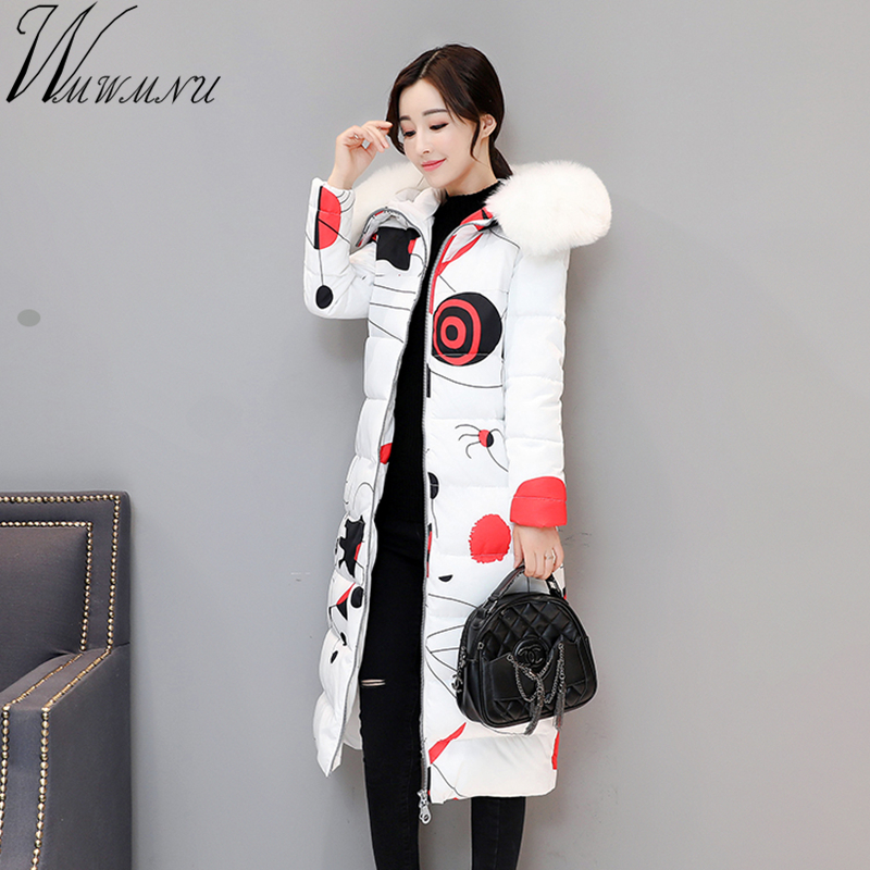 Wmwmnu 2017 Wadded Cotton Special printing Jacket Women New Winter Coat Female Fashion Warm Parkas Hooded Womens thick Jacket Îäåæäà è àêñåññóàðû<br><br>