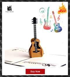 Retro Postcards Handmade Colour 3D Pop UP Origami Musical Greeting Cards Birthday Paper with Mini Gift Thank You Laser Card
