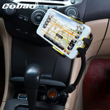 Car Mobile Cell Phone Mount Holder With Cigarette Lighter Socket 2 Charging USB Port Charger For iphone 6 5s 6s 6s plus xiaomi