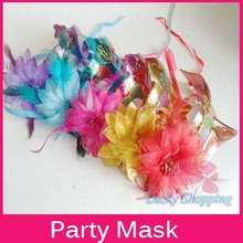 2014 Hot Sale Women Party Mask Flower Side And Feather Gold Dust Eyes Princess Halloween Masks For Girl Wedding Wear(China)