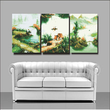 House decoration landscape paintings cheap modern canvas art triptych painting 50X50X3 coloring by numbers hand painted S3047(China)