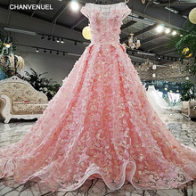 LS01148 vestido de fiesta o-neck backless lace up ball gown sweep train lace up pink evening dress shopping online real photo(China)