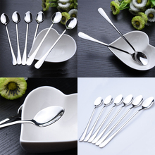 "6x 7.7"" Long Stainless Steel Ice Cream Spoon Cocktail Teaspoons Coffee Soup Tea Spoons DIY Kitchen Table Tools(China)"