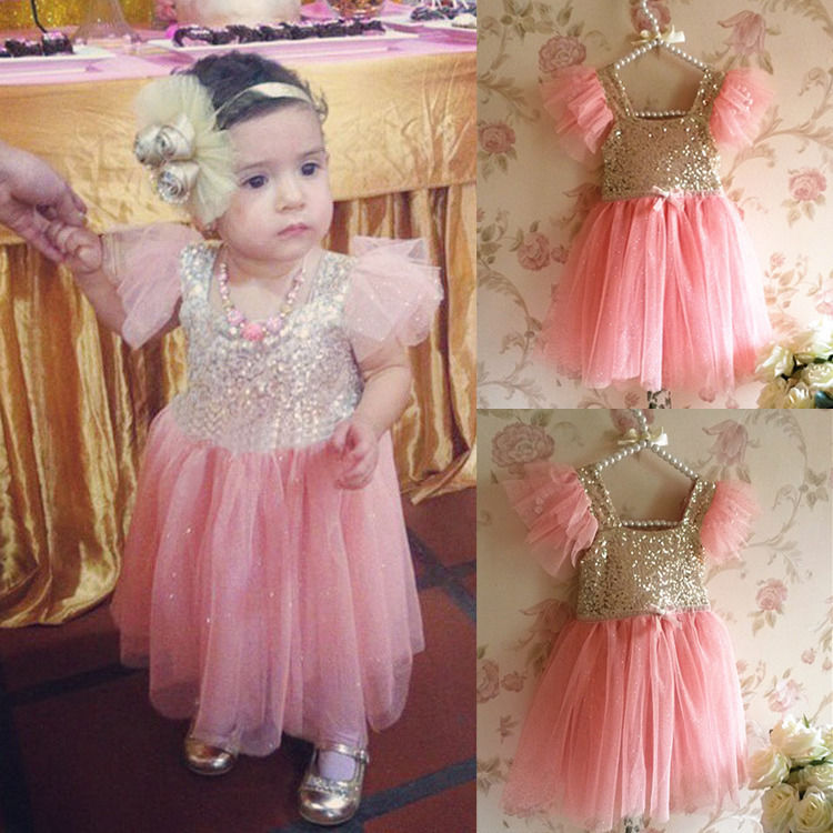 2016 Bling Pinks Princess Baby Girls Dresses Sequined Party Tulle Lace Tutu Gown Fancy Dresses 2-7Y<br><br>Aliexpress