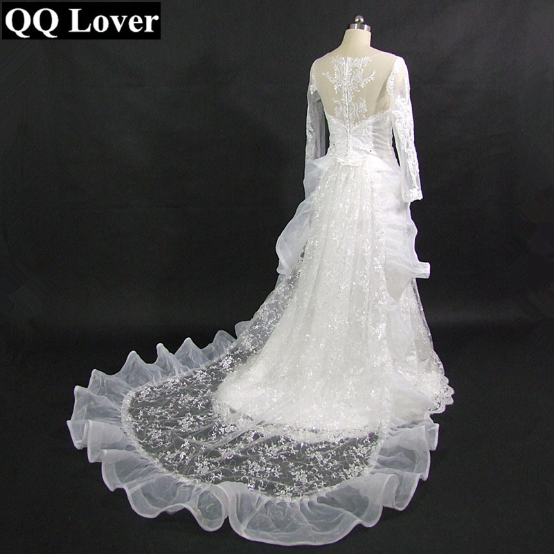 2019 The Latest Sexy Illusion Long Sleeve Removed Train Mermaid Vestido De Noiva Custom-made Plus Size Bridal Wedding Dress
