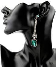 Hanging Green-Jewelry Geometric Crystal Drop Earrings Dazzling Unique Neon Dress Accessories