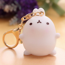 2017 New 1PC keychain Cartoon Bunny Decor Fat Rabbit Keychain Keyring Bag Pendant Key Chain 5*4*4cm