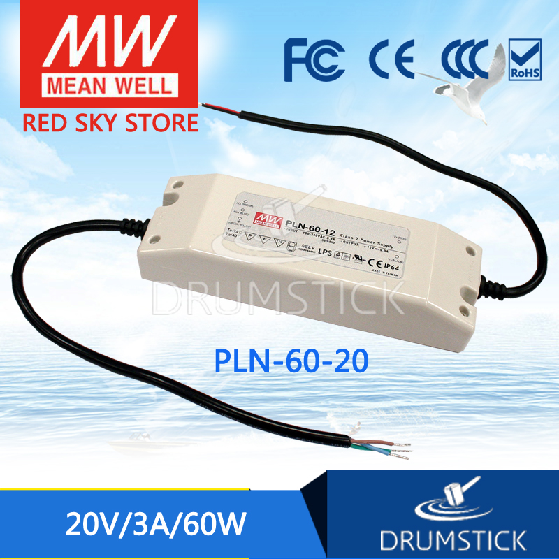 Original MEAN WELL PLN-60-20 20V 3A meanwell PLN-60 20V 60W Single Output LED Power Supply<br>