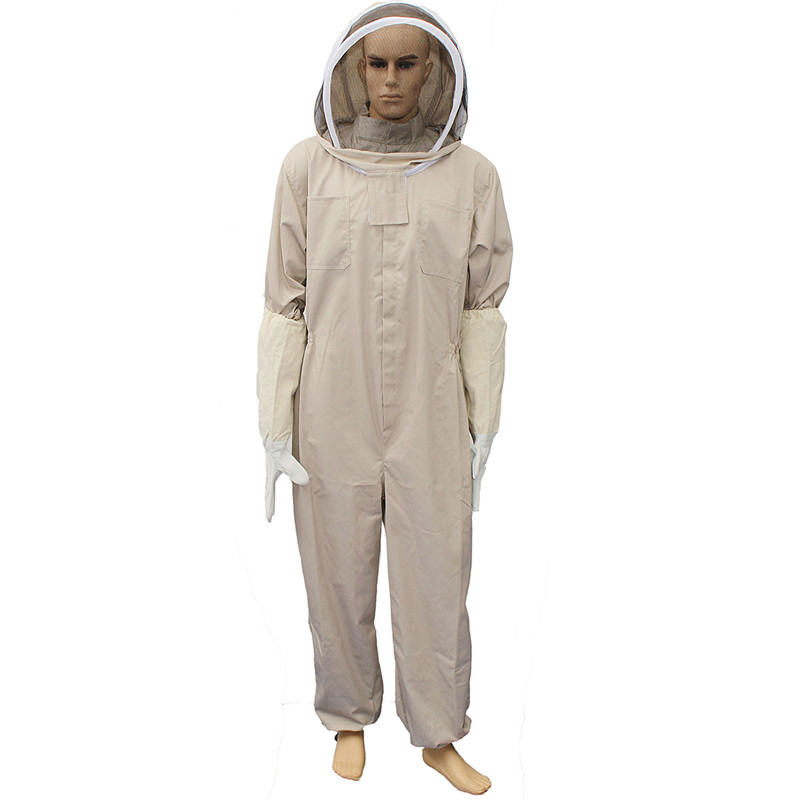 Unisex Details about Cotton Beekeeper Bee Suit Smock + Beekeeping Protective Goatskin Gloves Gray+White Safely Clothes S M L<br>