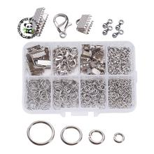 1Box Jewelry Findings 20PCS Alloy Lobster Claw Clasps, 45PCS Iron Ribbon Ends, 40g Brass Jump Rings, 10g Alloy Drop End Pieces,