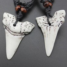 Wholesale1/12pcs Faux Shark Tooth Teeth Bone Pendant Necklace Handmade Weave Rope Chain Wood Beads Necklace Amulet Gift