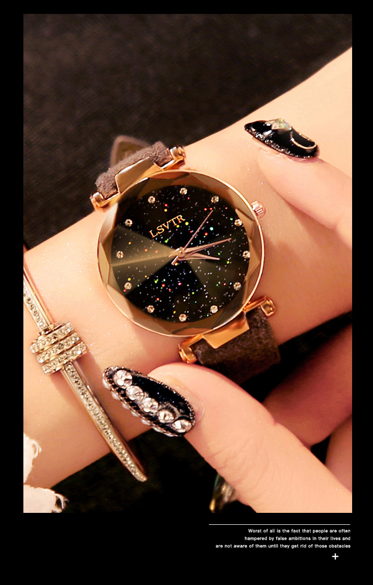 18 Luxury Brand Gogoey Women Watches Personality romantic starry sky Wrist Watch Leather Rhinestone Designer Ladies Red Clock 29