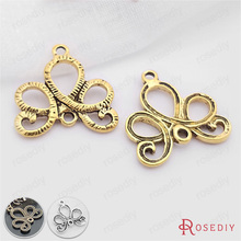 (20965)30PCS 21*21MM Antique Bronze Earring Connector Charms Diy Handmade Jewelry Findings Accessories Wholesale(China)